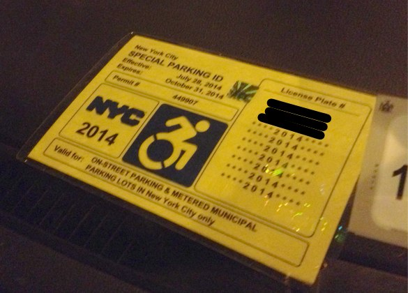 handicap parking permit application nyc