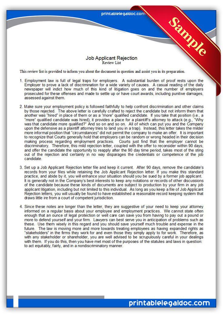 job application rejection letter nz