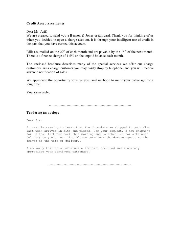 letter to customer requesting credit application