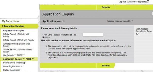 land registry application for first registration
