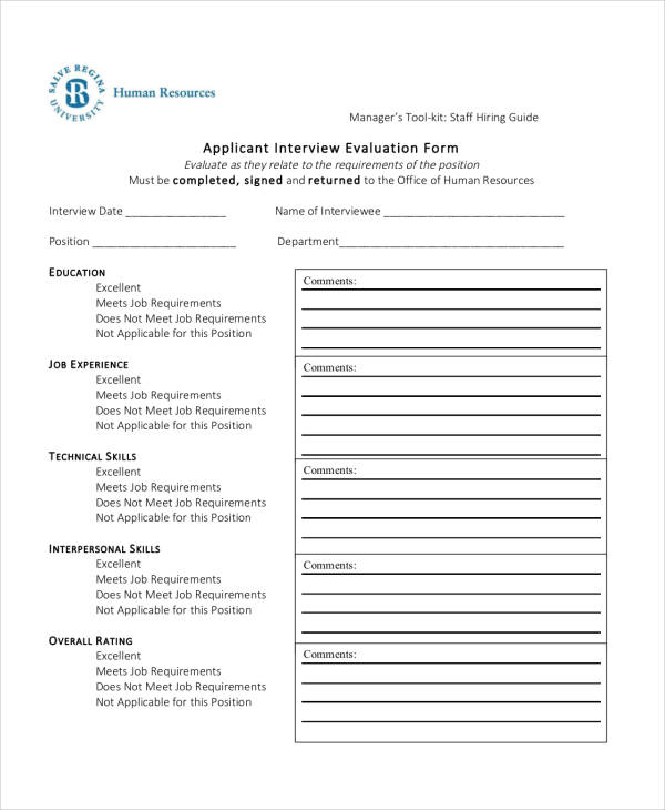 evaluation of applicant pool template