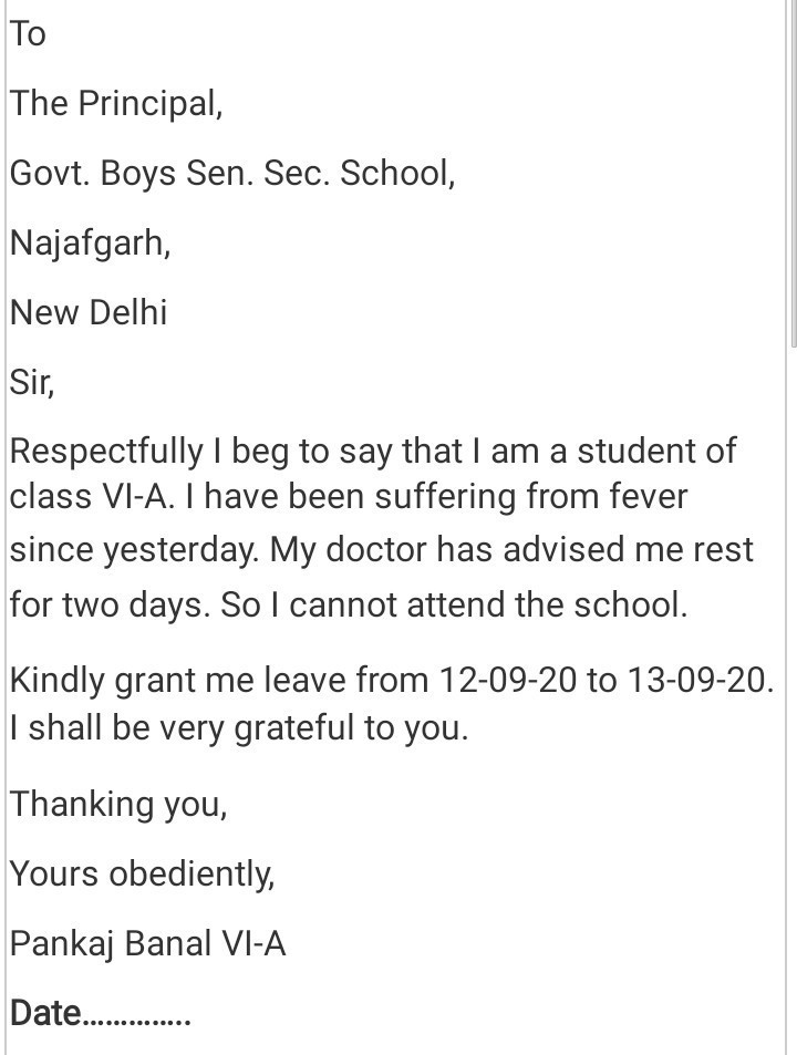 school application letter for absent