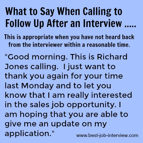 follow up call after job application what to say