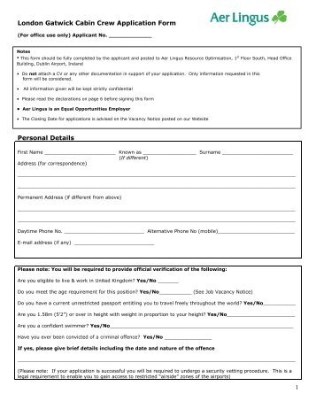 cabin crew online application form
