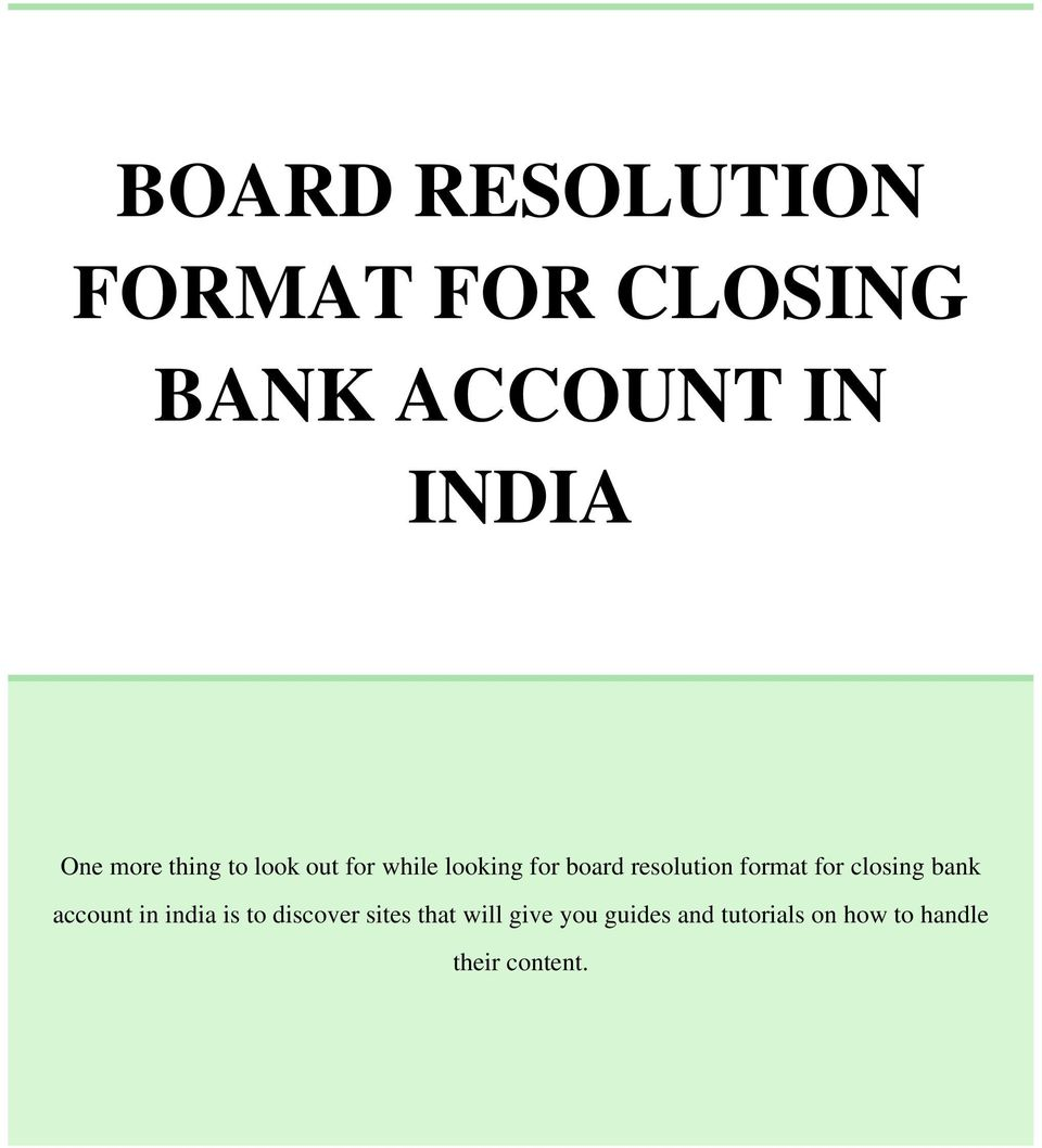 sample application for closing bank account