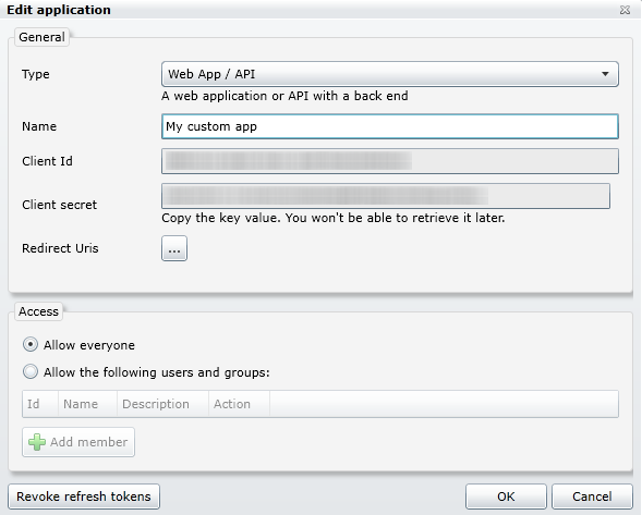 application using oauth 2.0