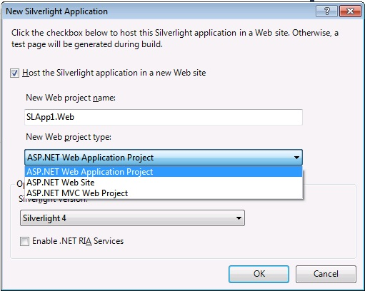 create a silverlight application in vs2010