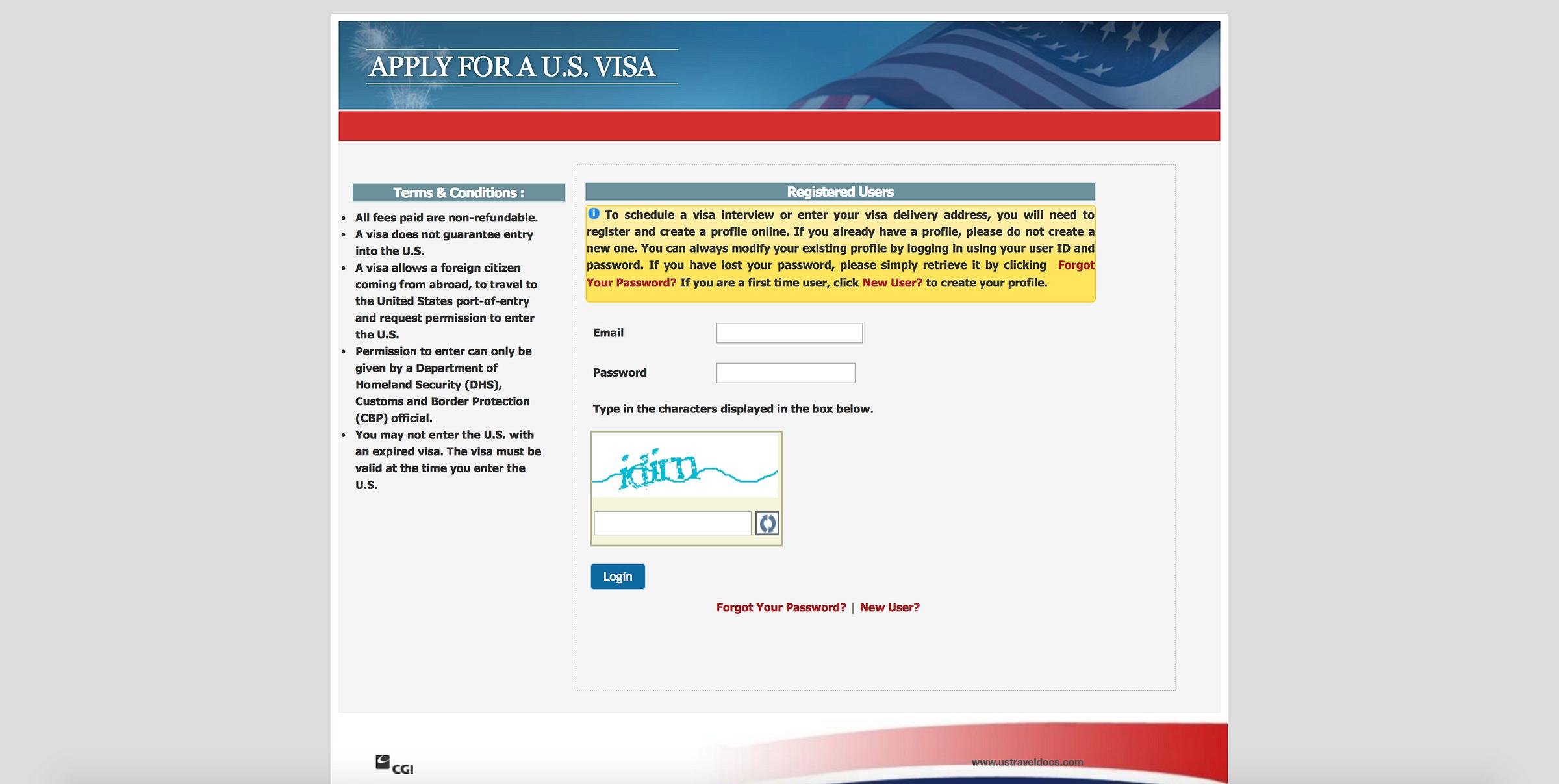 application fee receipt us visa