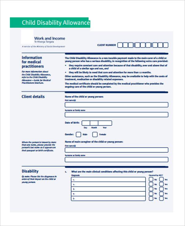 centrelink disability allowance application form