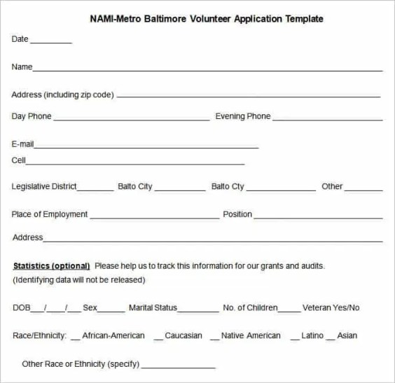 sample volunteer application form template uk