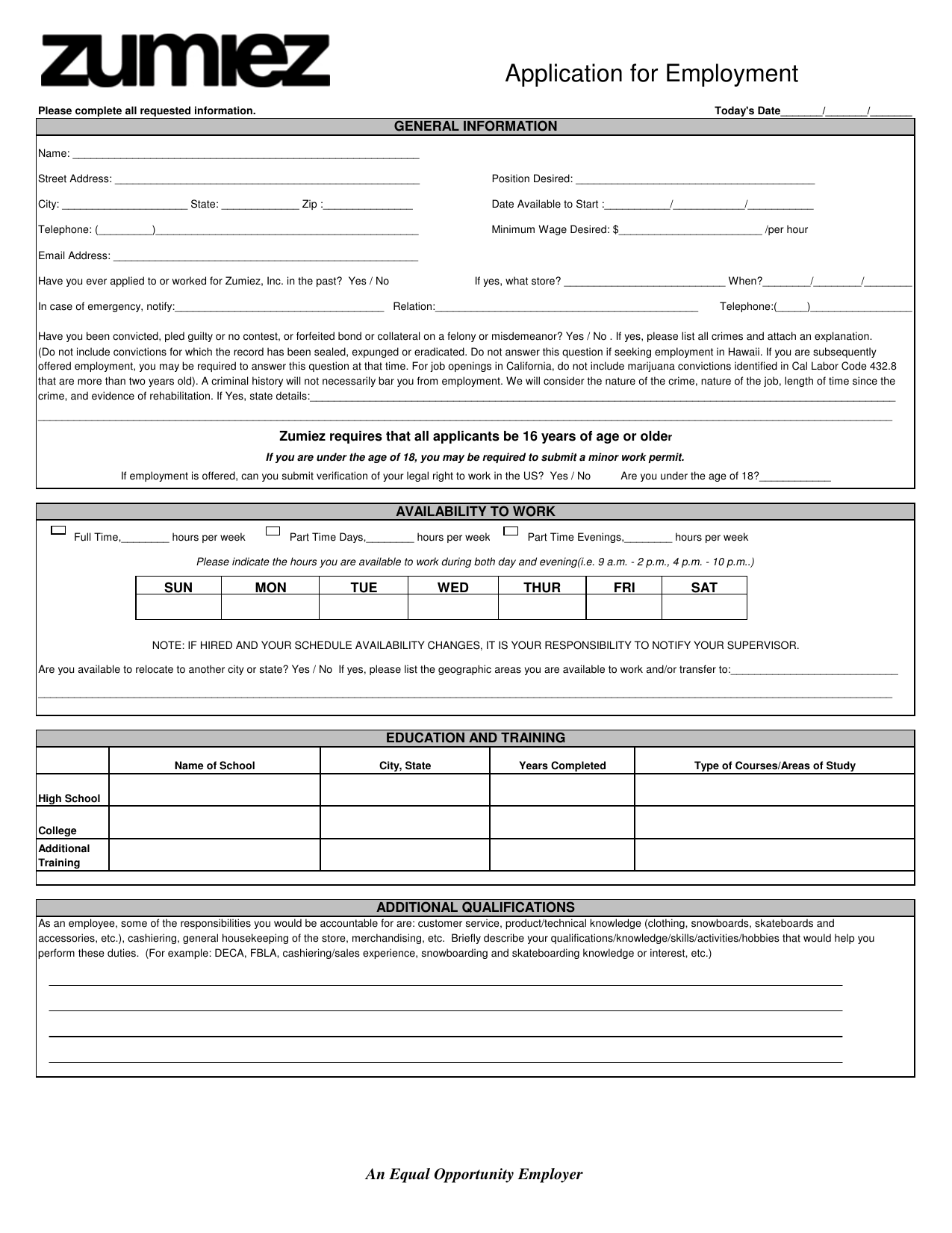 blank employment application template free