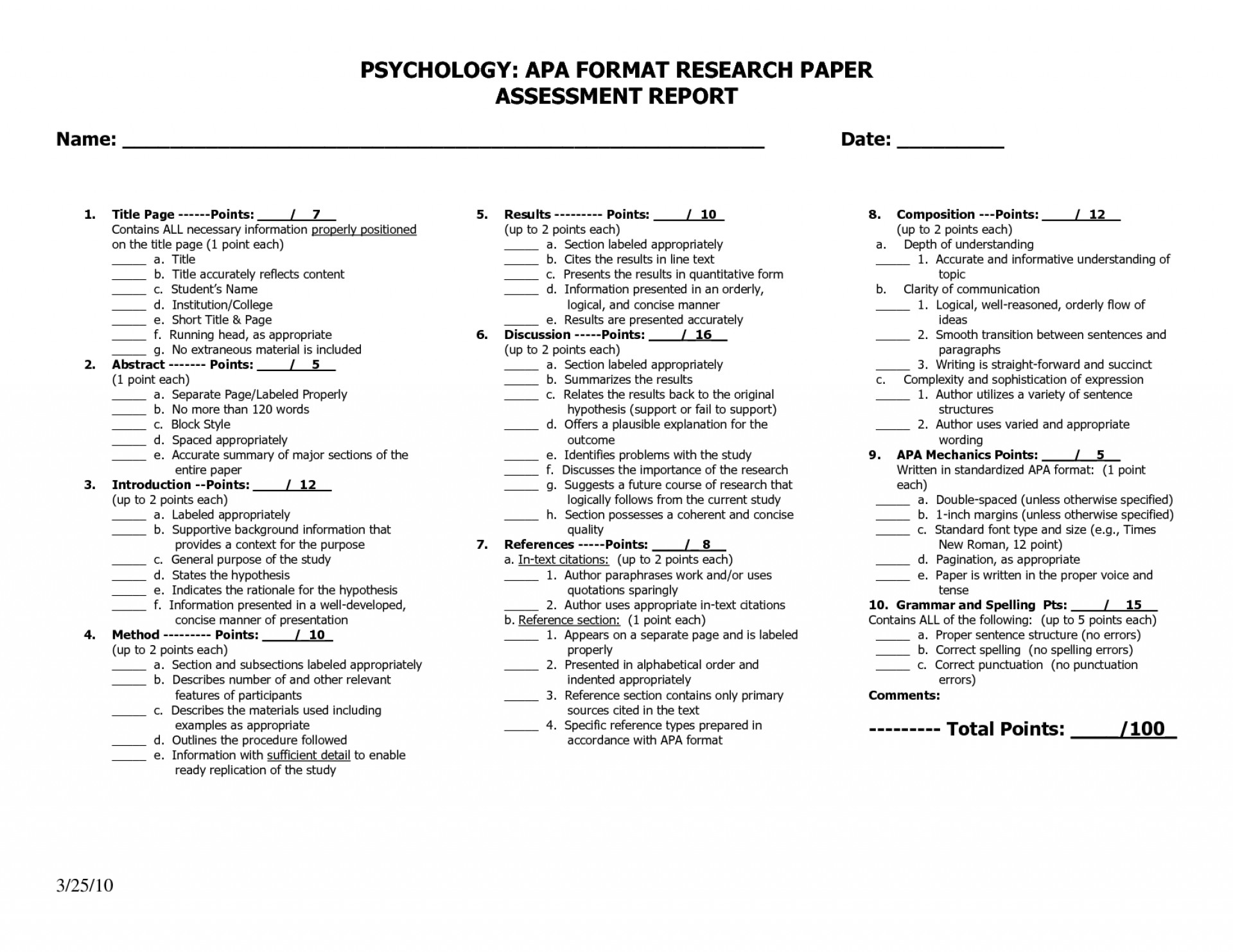 outline of an application paper psychology