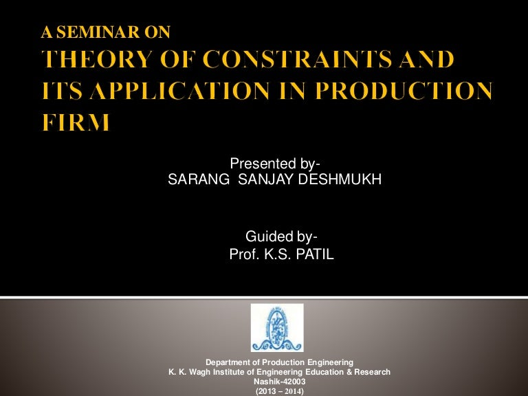 the theory of constraints applications in quality and manufacturing