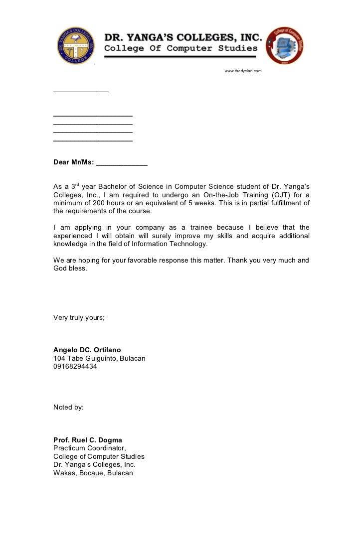 cover letter for ojt application
