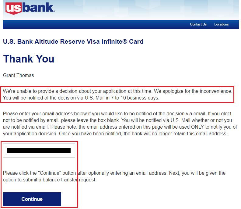 bank of america credit card application pending