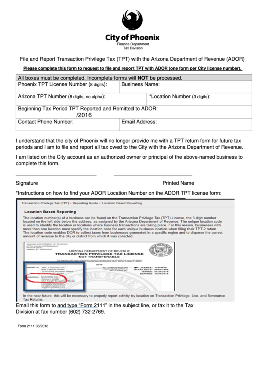 city of phoenix rental tax application