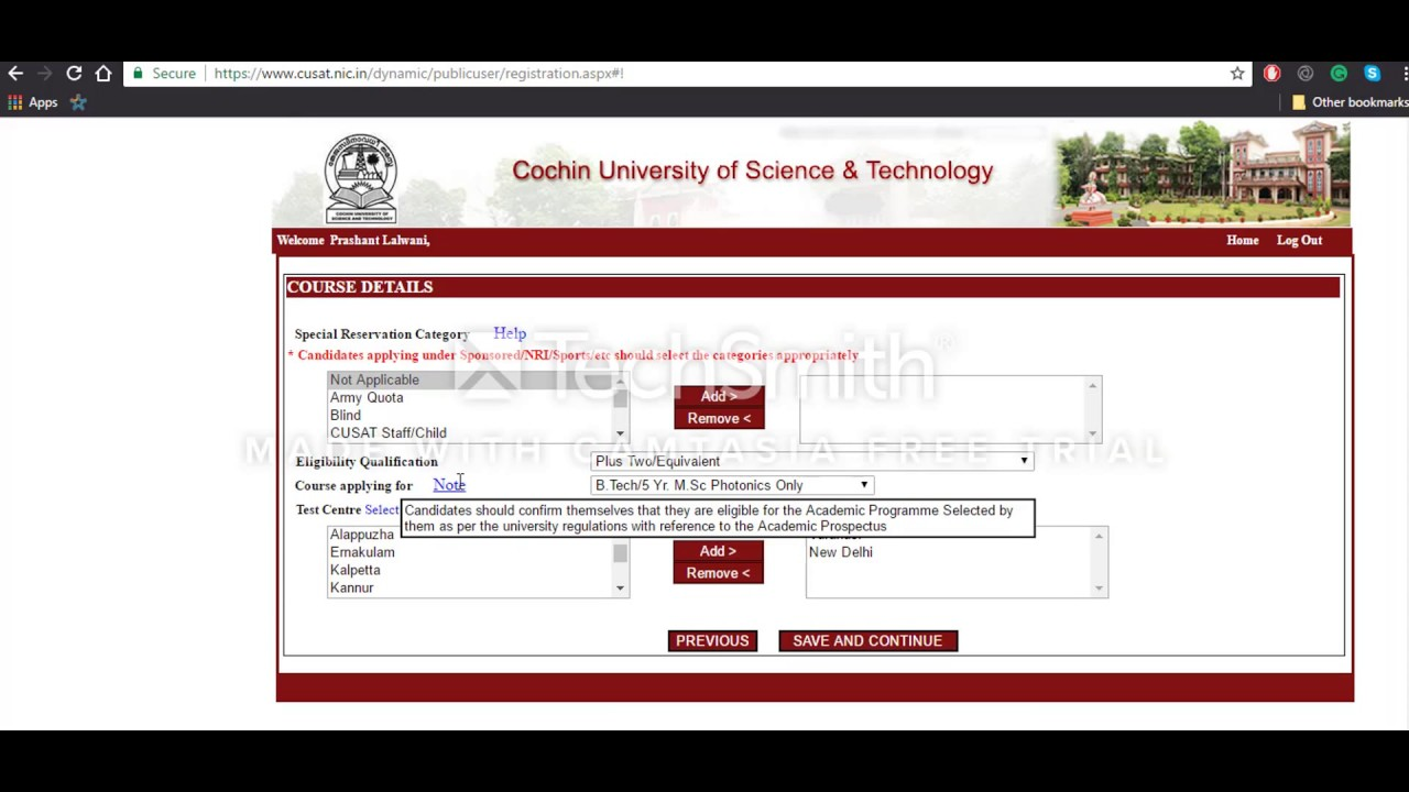 cochin refineries school application form