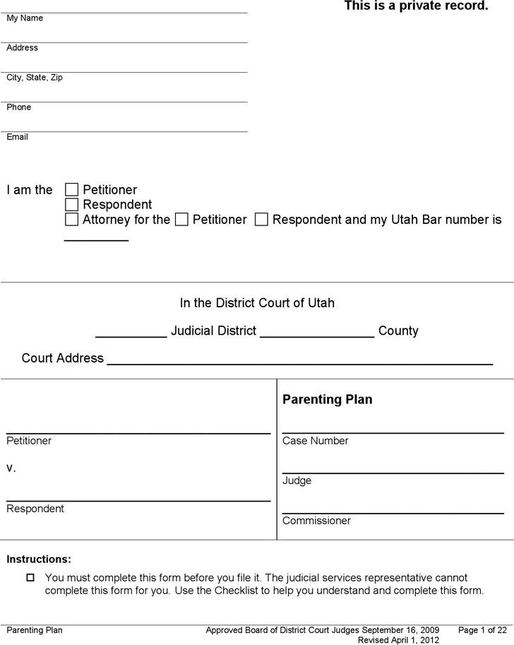 divorce application form free download victoria