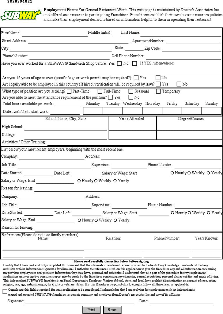 subway employment application form online