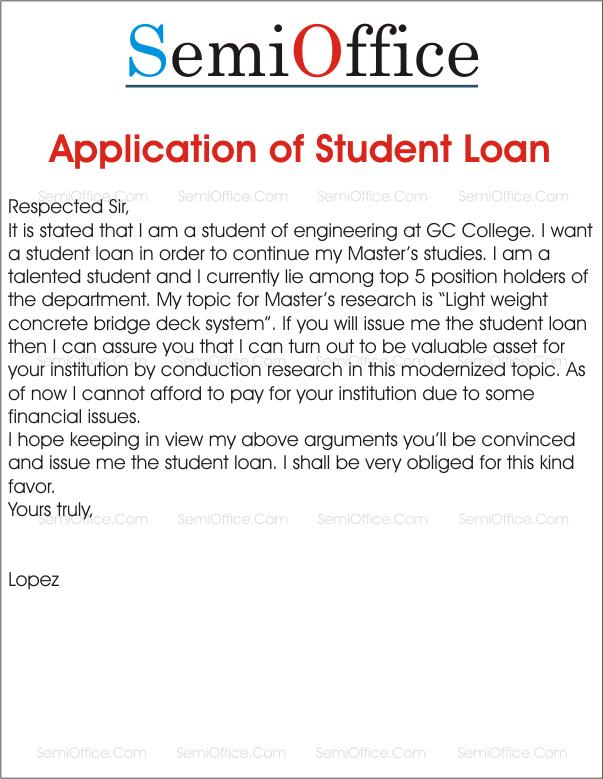 study loan application letter sample pdf
