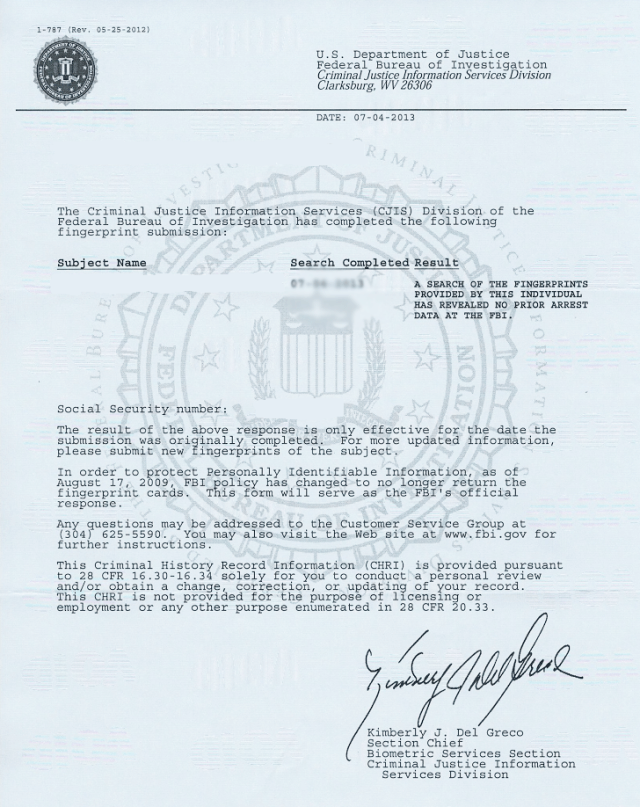 application to fbi history clearance
