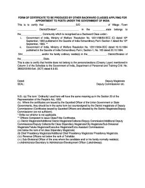 non creamy layer certificate application form