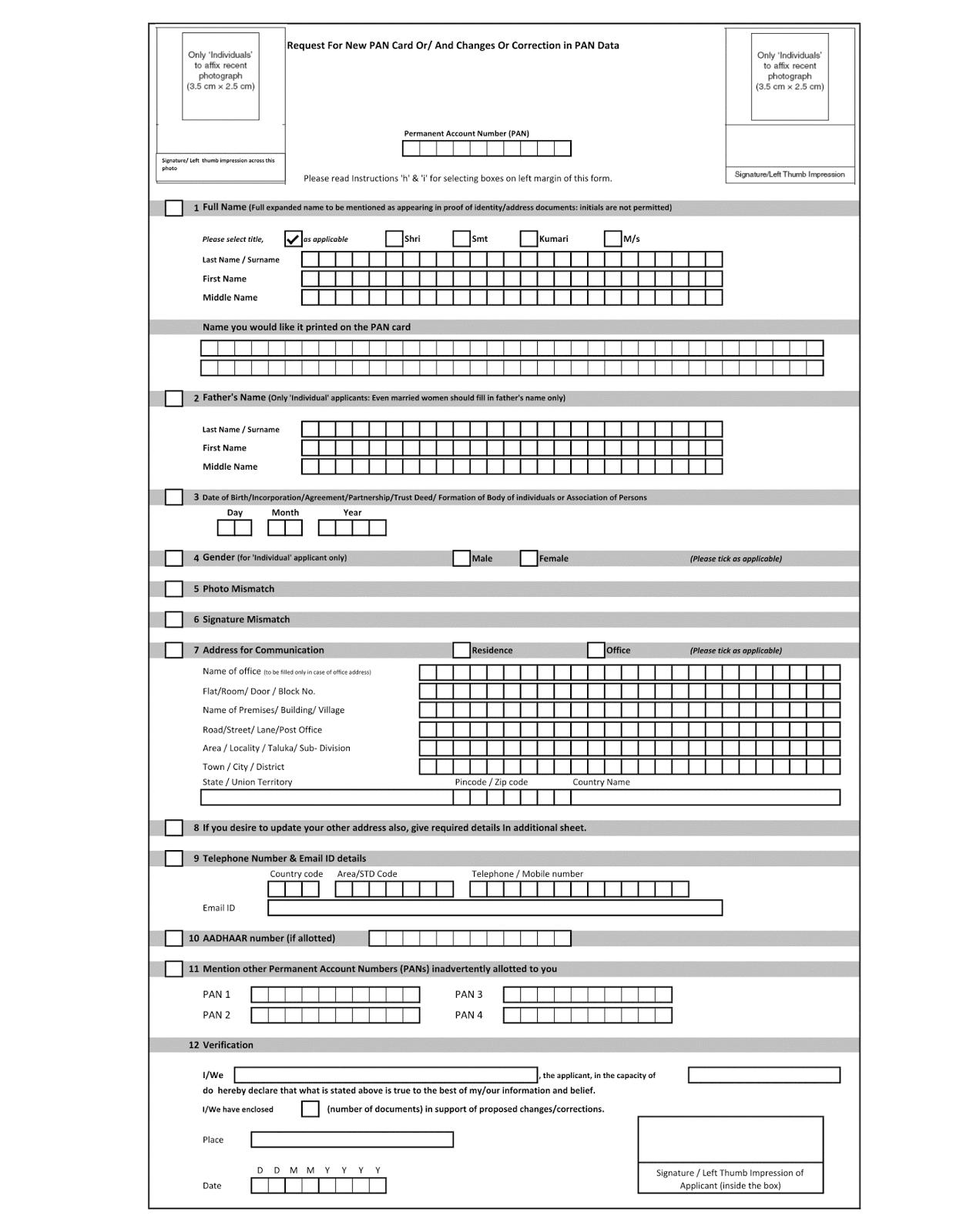 pan card application form online registration