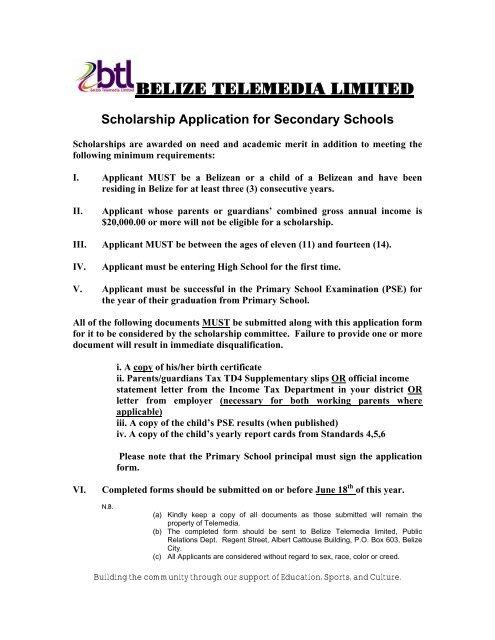 scholarship application letter secondary school